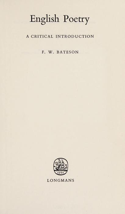 English poetry: a critical introduction by Frederick Wilse Bateson