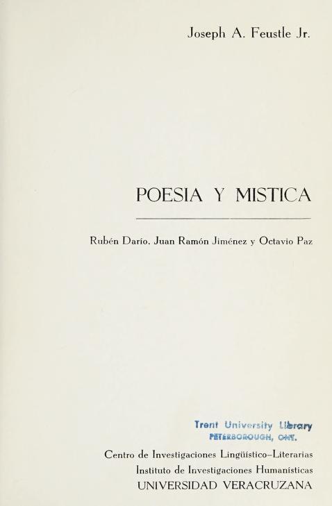 Poesía y mística by Joseph A. Feustle
