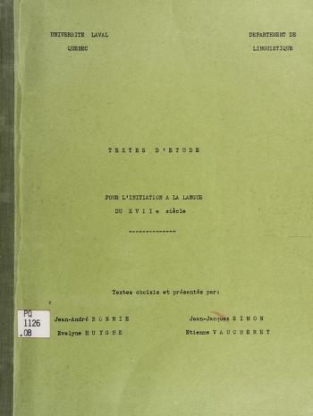 Cover of: Textes d'étude pour l'initiation à la langue du 7è siècles   Quebec, Que. Université Laval. Département de linguistique