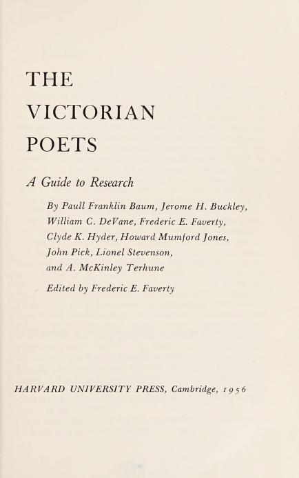 The Victorian poets by Frederic E. Faverty